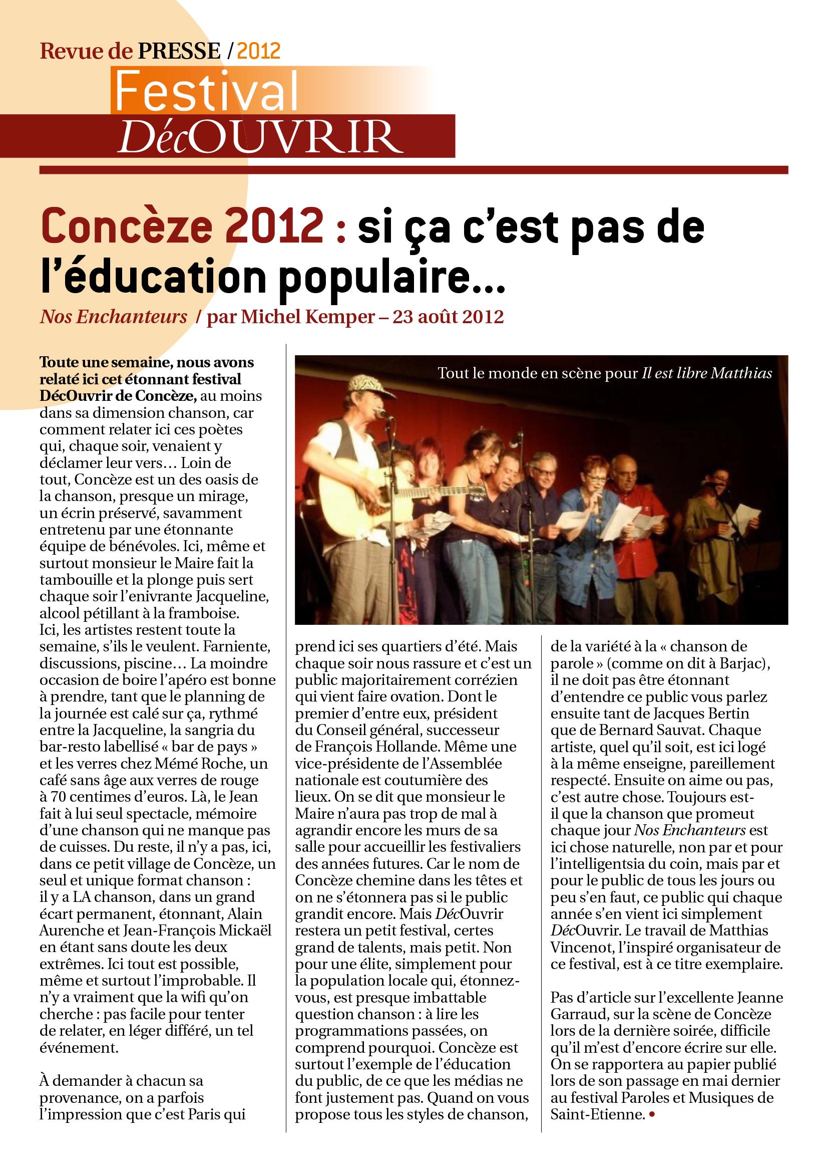 Revue de Presse FDC 2012-2
