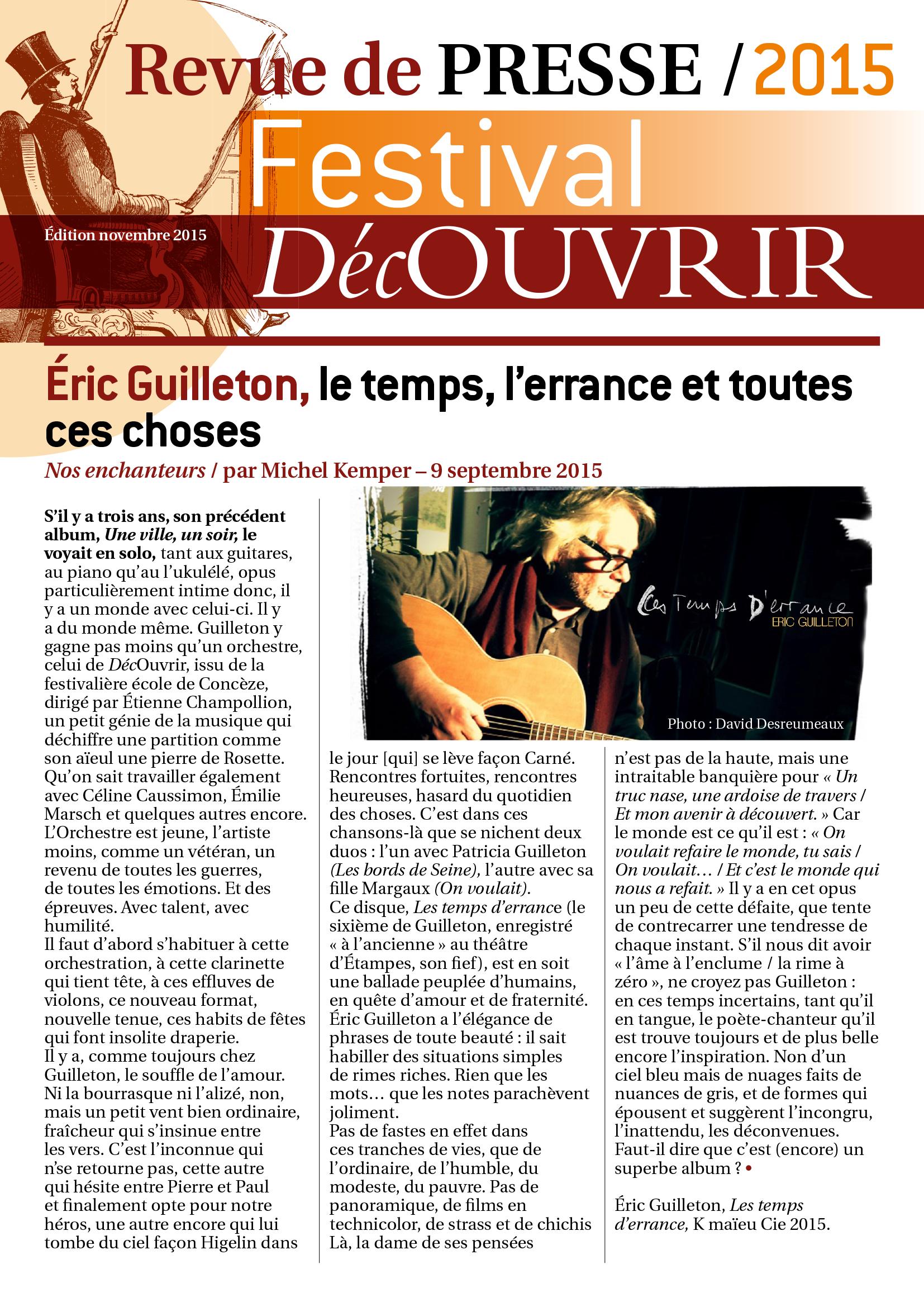 Revue de Presse FDC 2015-1