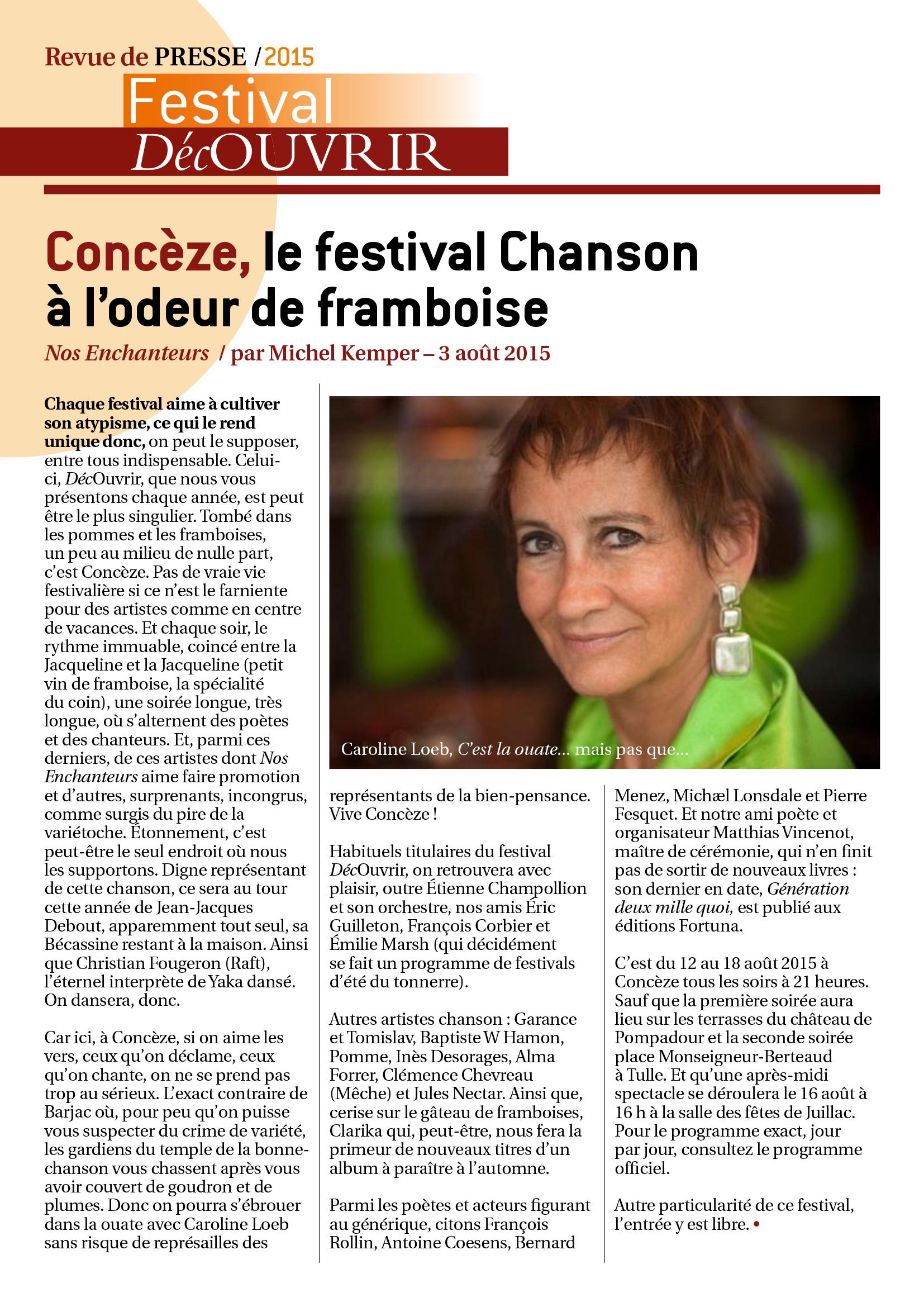 Revue de Presse FDC 2015-3