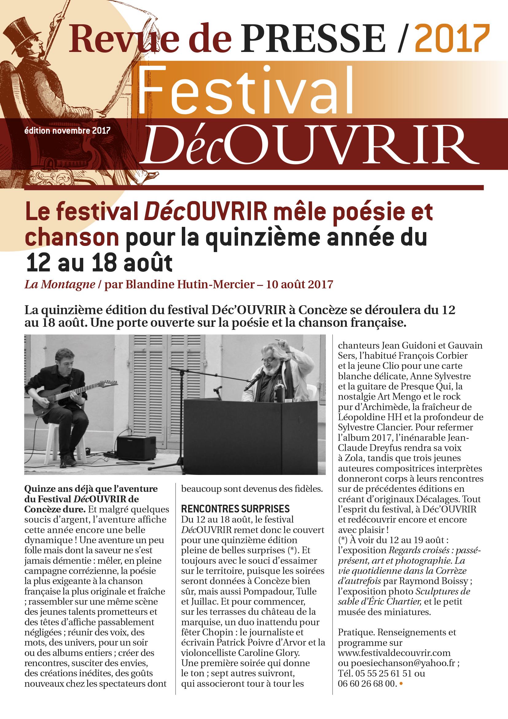 Revue de Presse FDC 2017