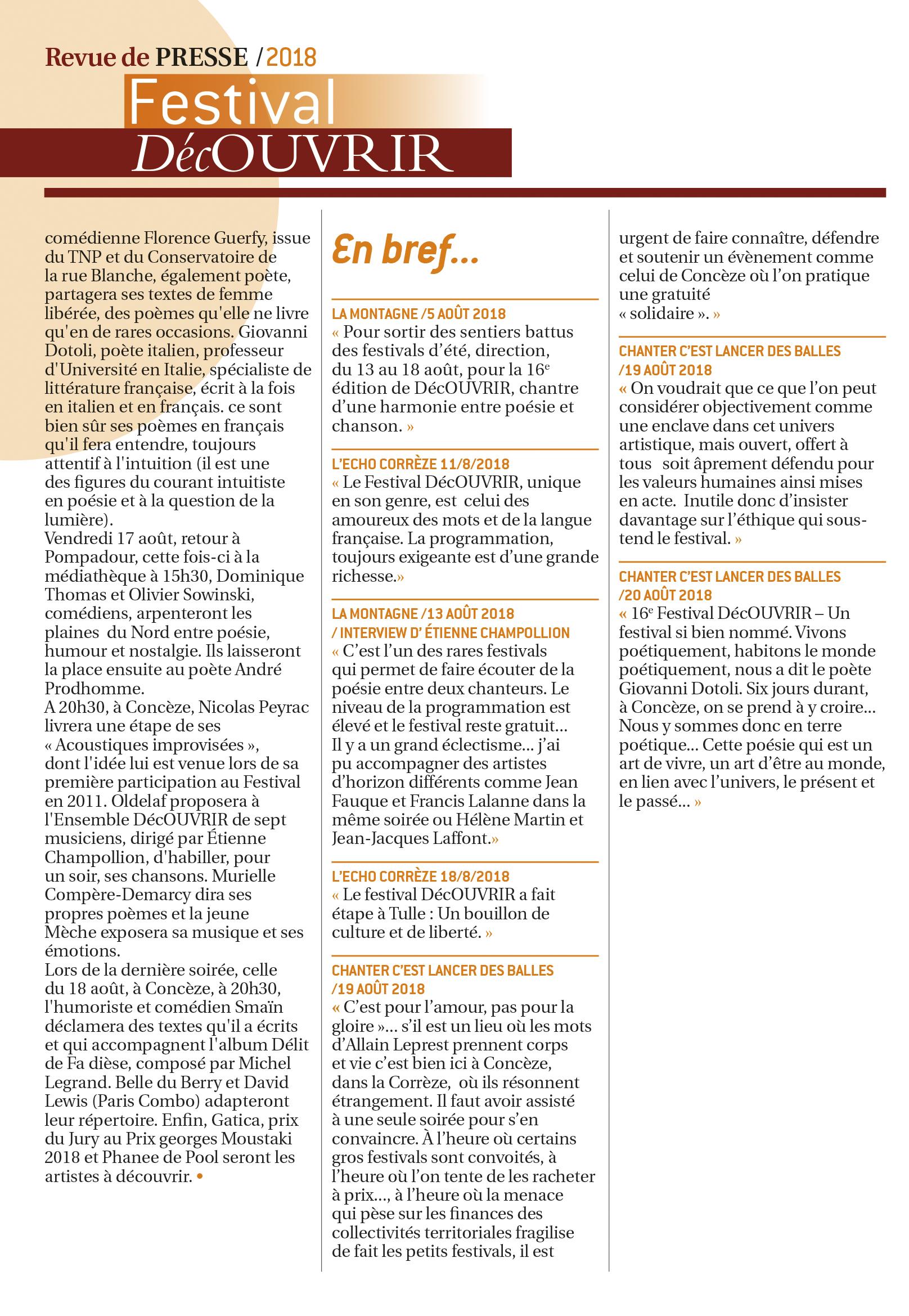 Revue de Presse FDC 2018-5