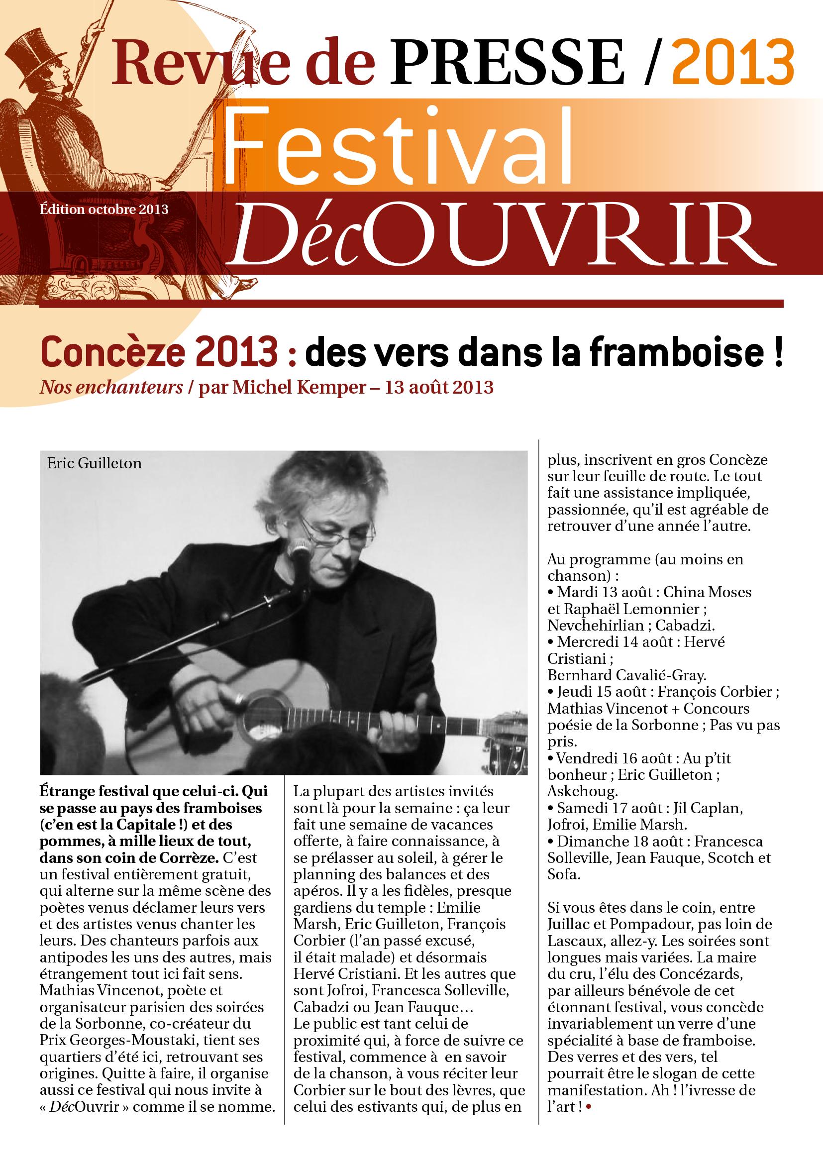 Revue de Presse FDC 2013-1