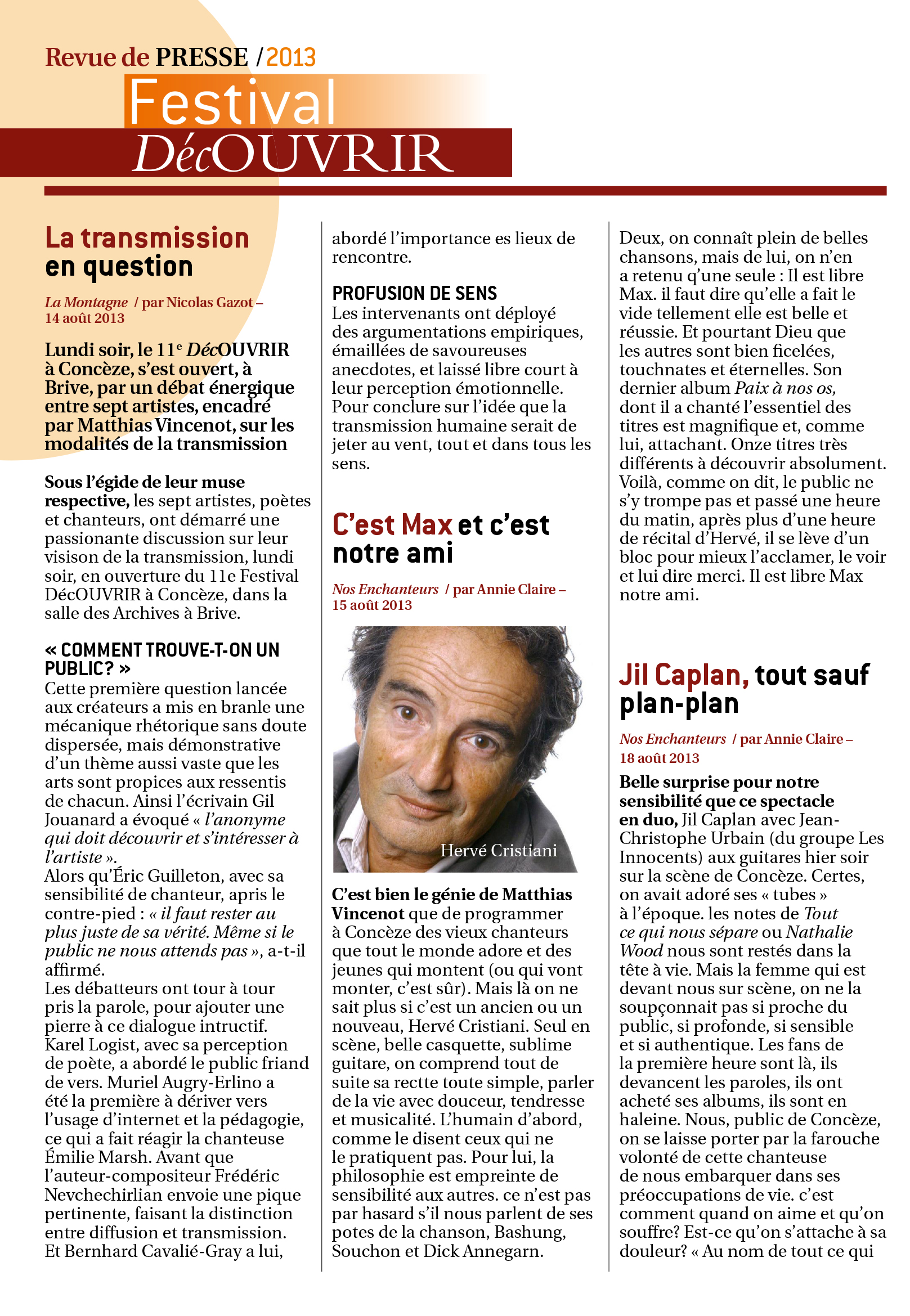 Revue de Presse FDC 2013-2